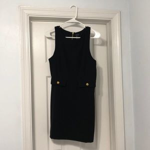 Black Shift Dress with Gold Buttoned Faux Pockets